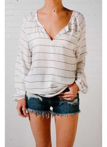 Striped split neck blouse