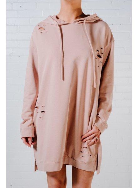Mini Dusty rose hoodie dress