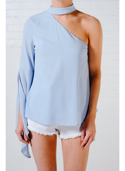 Blouse Sky blue one sleeve blouse