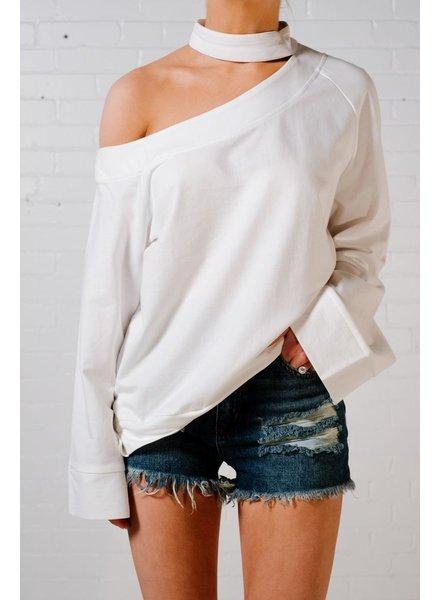 Sweatshirt Boat neck choker sweatshirt