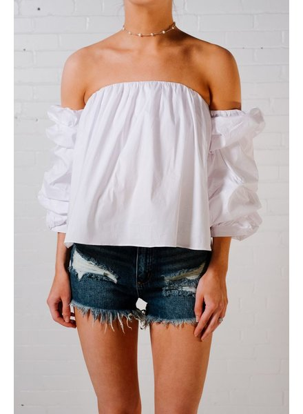 Blouse White OTS ruched blouse