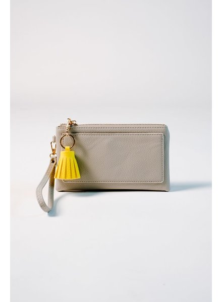 Clutch Grey tassel wristlet