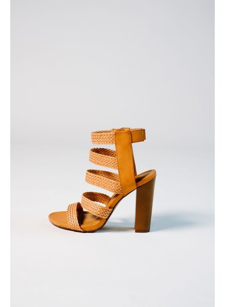 Pump Tan strappy woven stacked pump