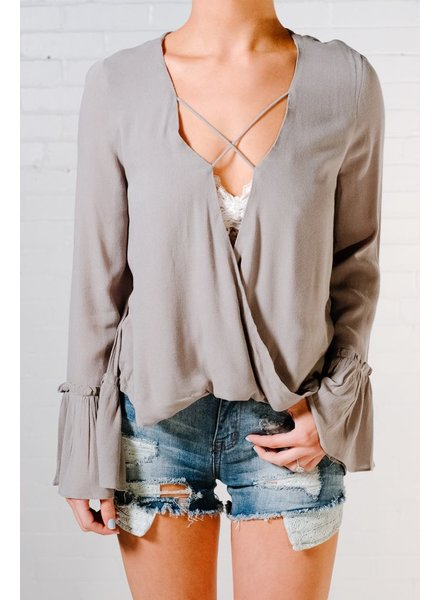 Blouse Sage bell sleeve blouse