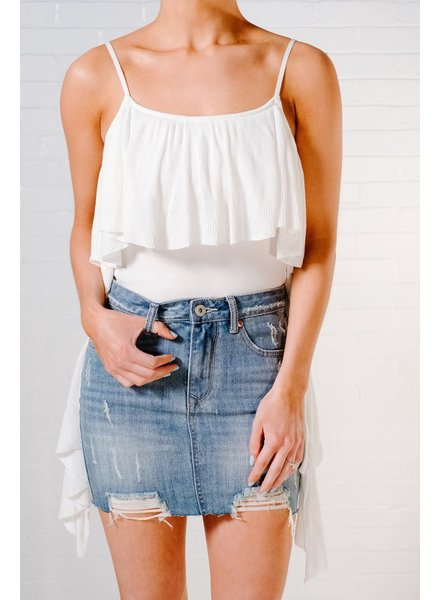 Tank Ivory knit high low tank
