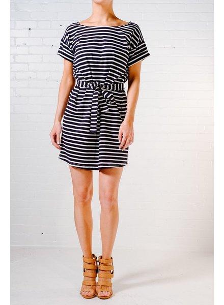 Mini Striped tie waist t-shirt dress