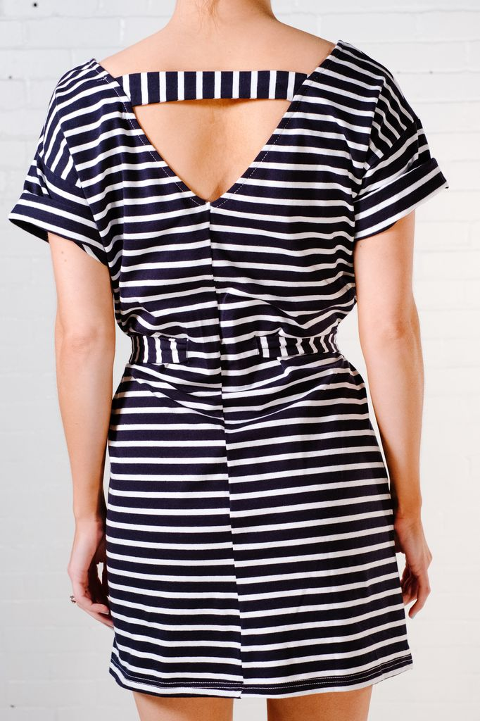 Mini Striped tie waist t-shirt dress