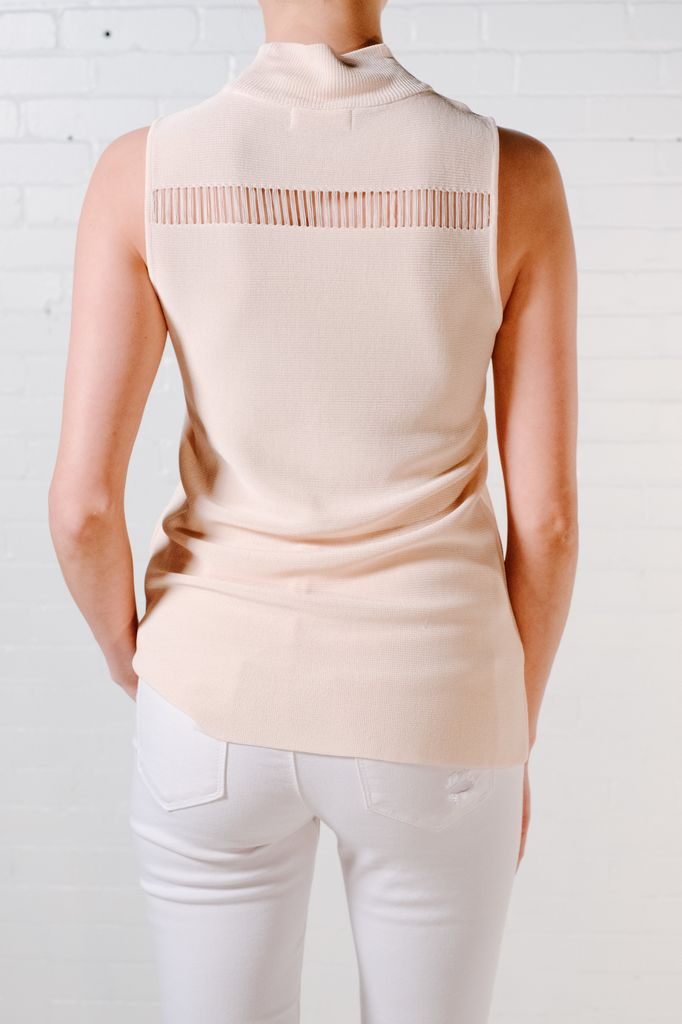 Tank Peach mock neck knit tank