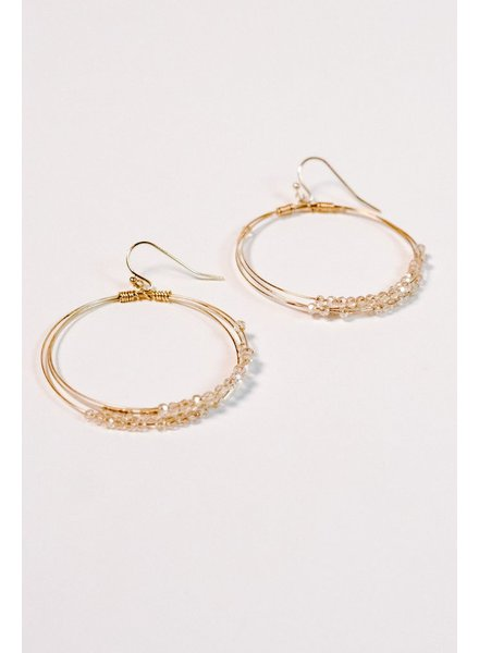 Gold Blush beaded gold hoop earring