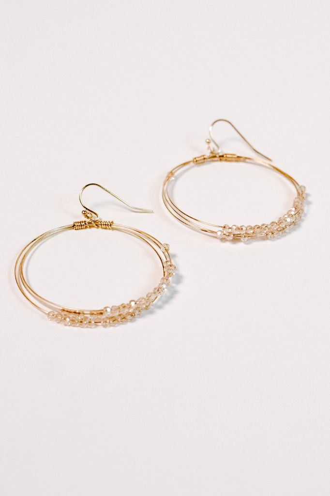 Gold Blush beaded gold hoop earring Bobbles and Lace