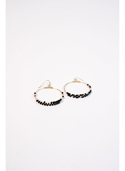 Gold Black beaded gold hoop earring