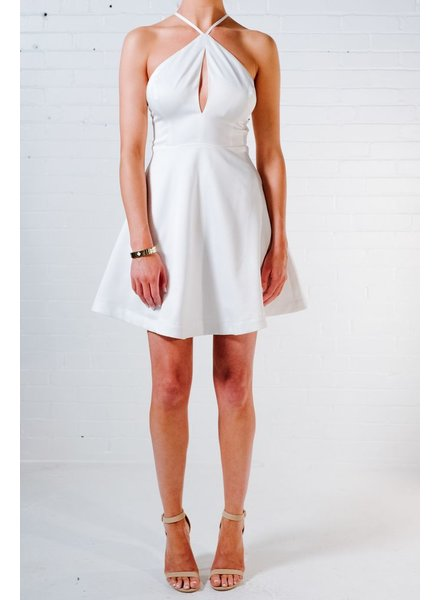 Mini Ivory peep neck fit and flare