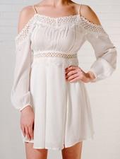 Mini Crochet detail cold shoulder dress