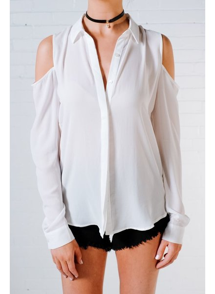 Blouse Cold shoulder button down
