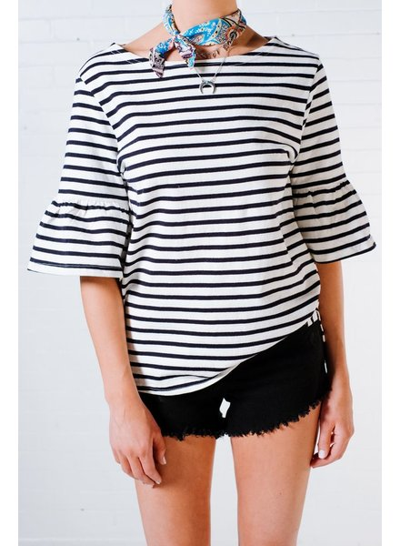 T-shirt Bell sleeve striped t