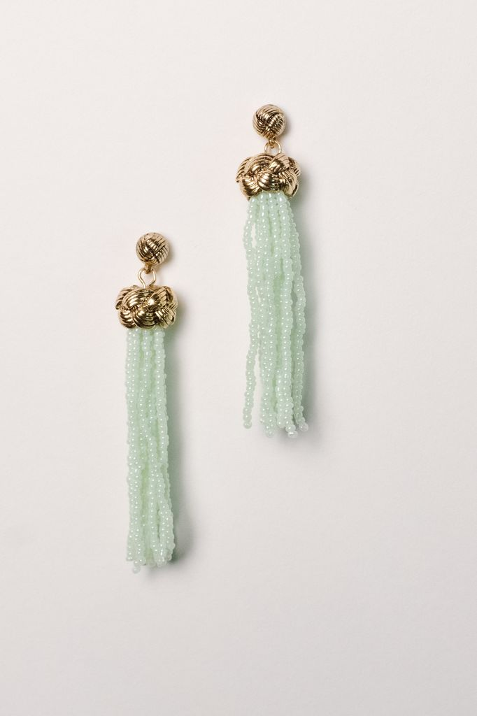 Trend Mint beaded knot tassel earring