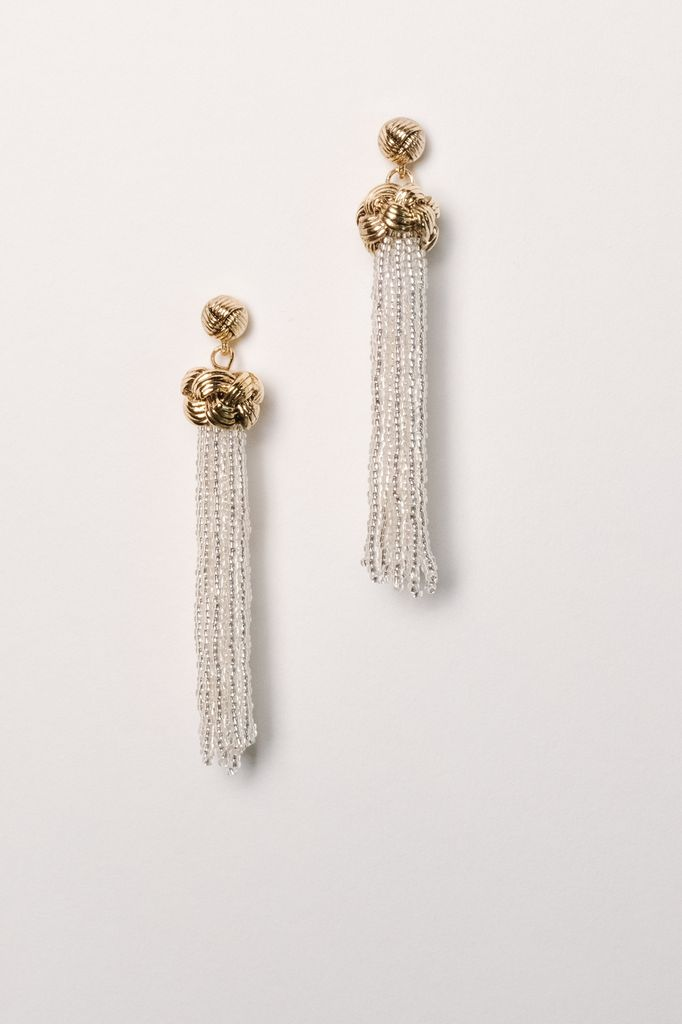 Trend Clear beaded knot tassel earring