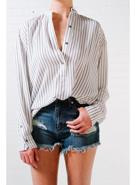 Blouse Striped bow back blouse