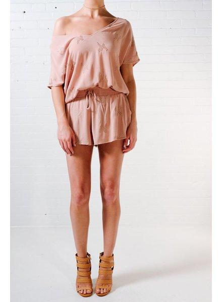 Blouse Mauve open back blouse