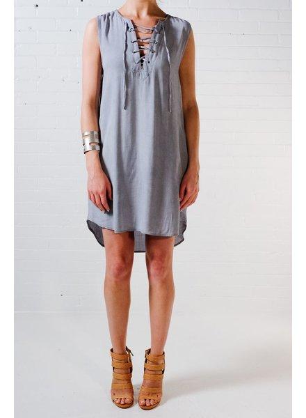 Midi Chambray lace-up dress