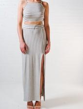Skirt Stripe slit maxi skirt