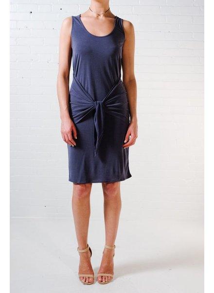 Casual Acid wash tie front dress