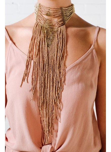 Trend Natural beaded choker statement