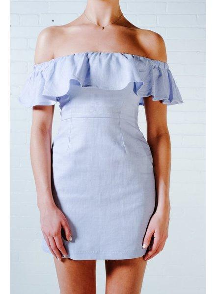 Mini Carolina blue ruffled top dress