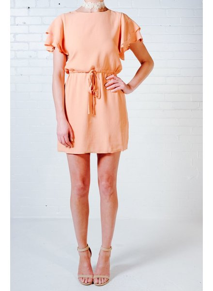 Mini Peach flutter sleeve dress
