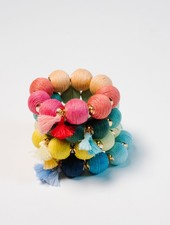 Trend Multicolor threaded ball bracelet