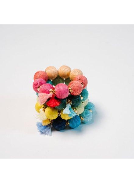 Trend Multicolor threaded ball bracelet