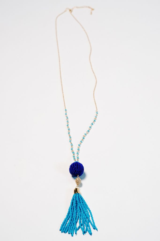 Trend Blue beaded trend necklace