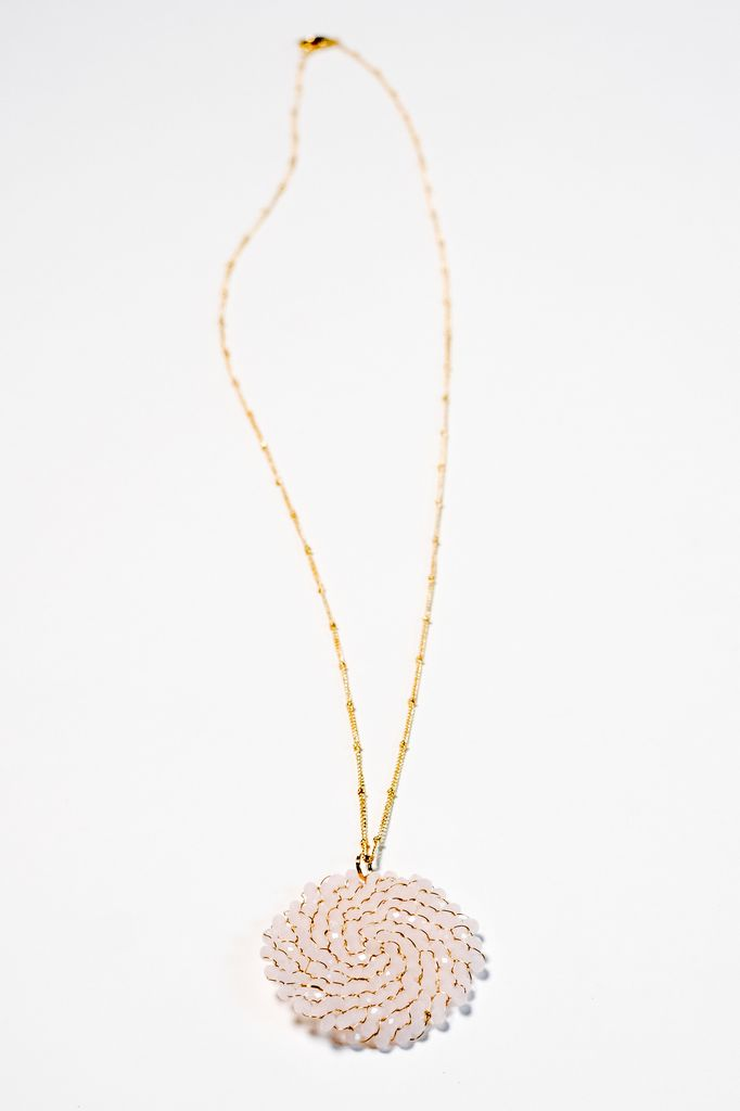Long Long pale pink beaded disk