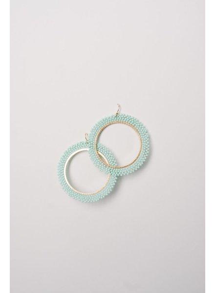 Trend Mint beaded open hoop earring
