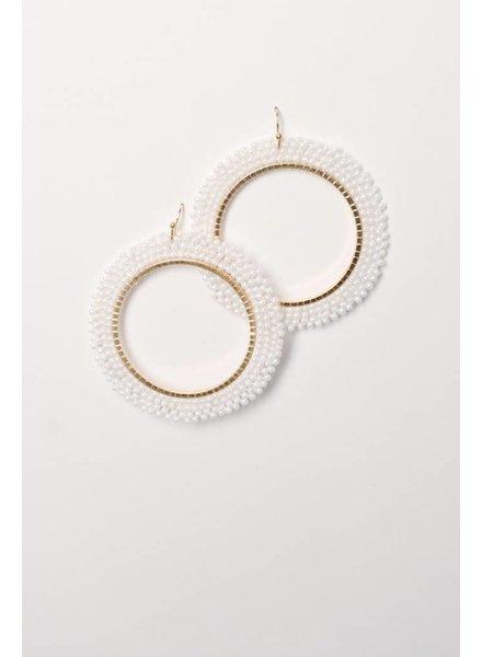 Trend White beaded open hoop earring