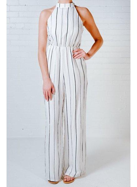 Dressy White striped halter jumpsuit