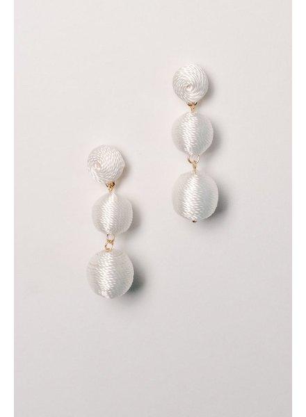 Trend White graduated thread ball earrings