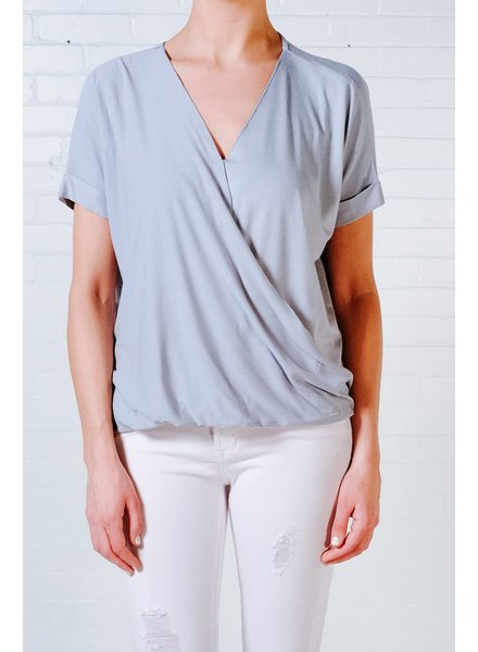 Blouse Blue cross front short sleeve tee