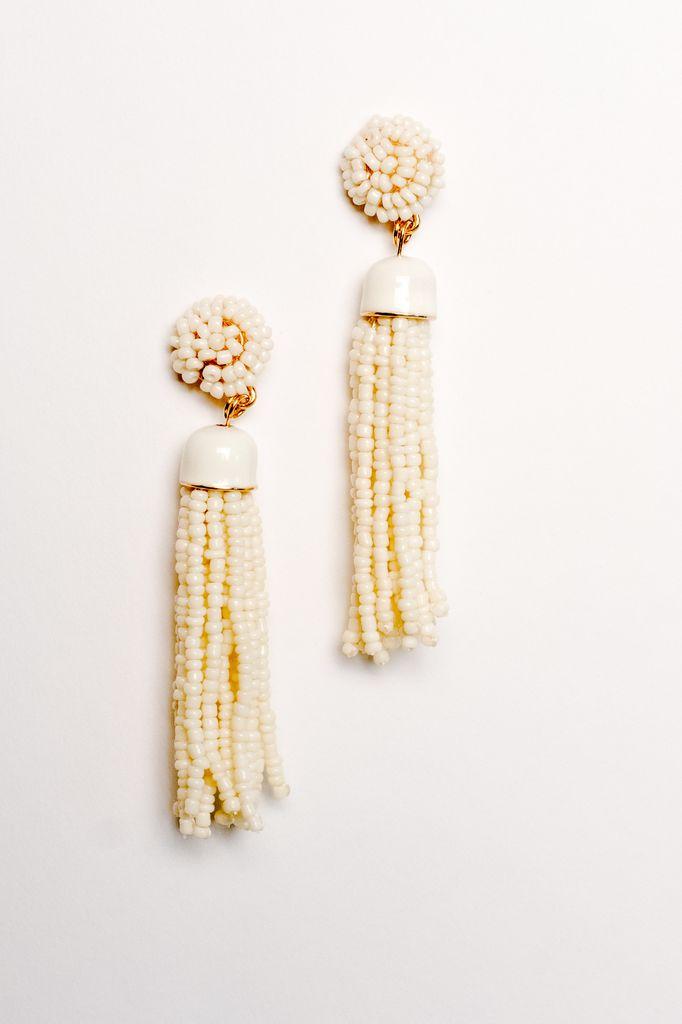 Trend Beige tassel earrings