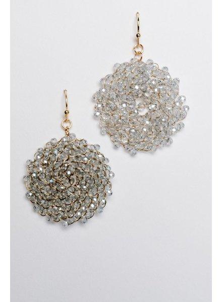 Trend Grey beaded disk earring