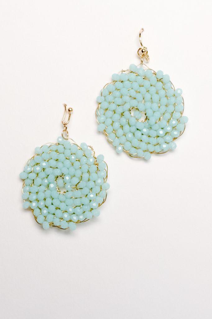 Trend Mint beaded disk earring