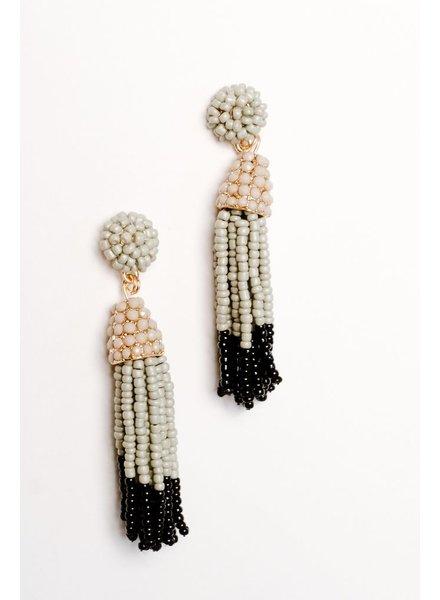 Trend 2-tone beaded tassel earrings