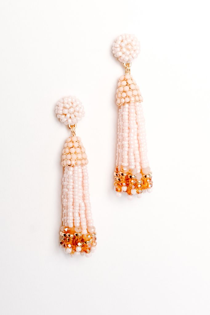 trend pink 2 tone beaded tassel earrings bobbles and lace