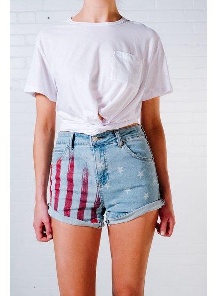 Shorts Flag print denim shorts