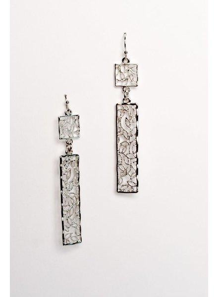 Silver Vine drop silver earrings