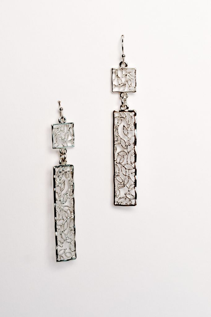 Silver Vine drop silver earrings