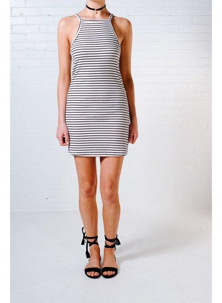 Casual Striped ribbed cotton mini dress