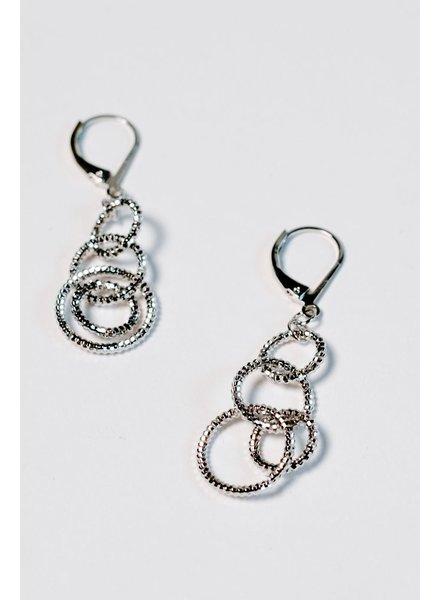 Dressy Interlocked silver hoop earrings