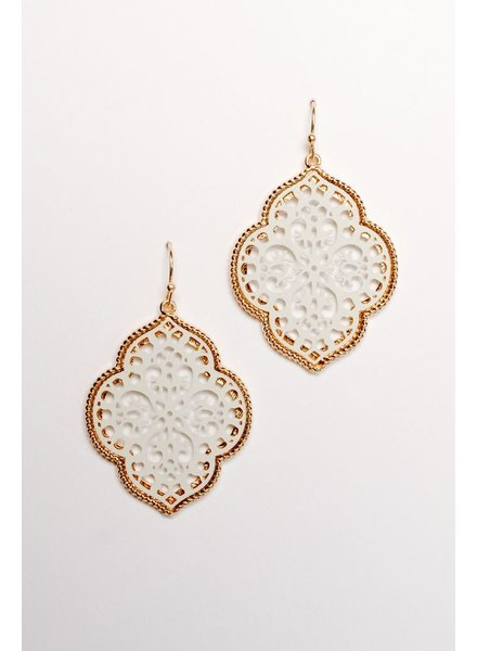 Casual White lacey filagree earring