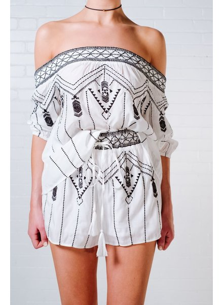 Blouse Aztec embroidered OTS top